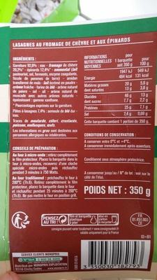 Lasagnes Chèvre Épinards Gratinées au Four - Produit