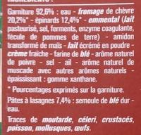 Lasagnes Chèvre Épinards Gratinées au Four - Ingrédients