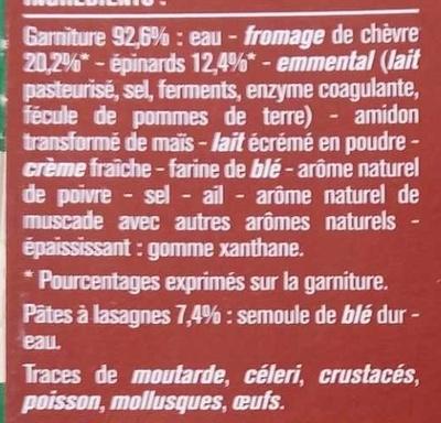 Lasagnes Chèvre Épinards Gratinées au Four - Ingredients