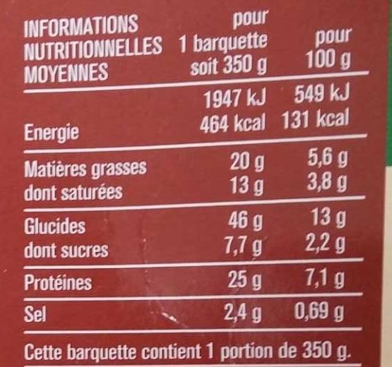 Lasagnes Chèvre Épinards Gratinées au Four - Nutrition facts