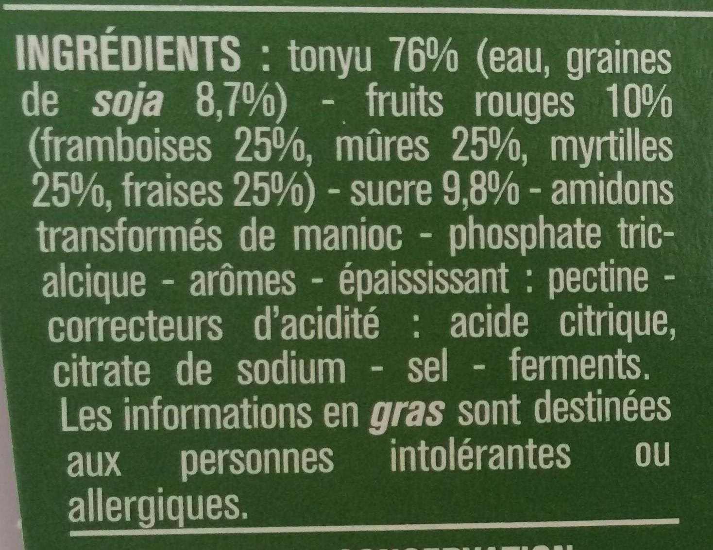 Spécialité au Soja Fruits Rouges - Ingrédients - fr