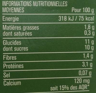 Spécialité au Soja Fruits Rouges - Informations nutritionnelles - fr