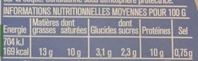 Fromage Frais au Lait de Chèvre Pasteurisé - Información nutricional