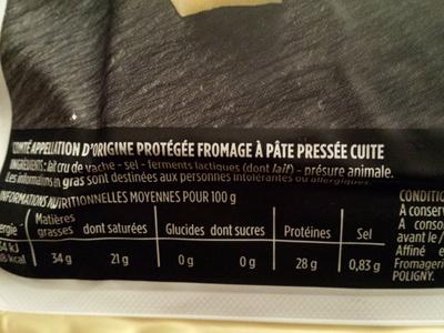 Comté AOP au lait cru (34 % MG) - Ingrédients - fr