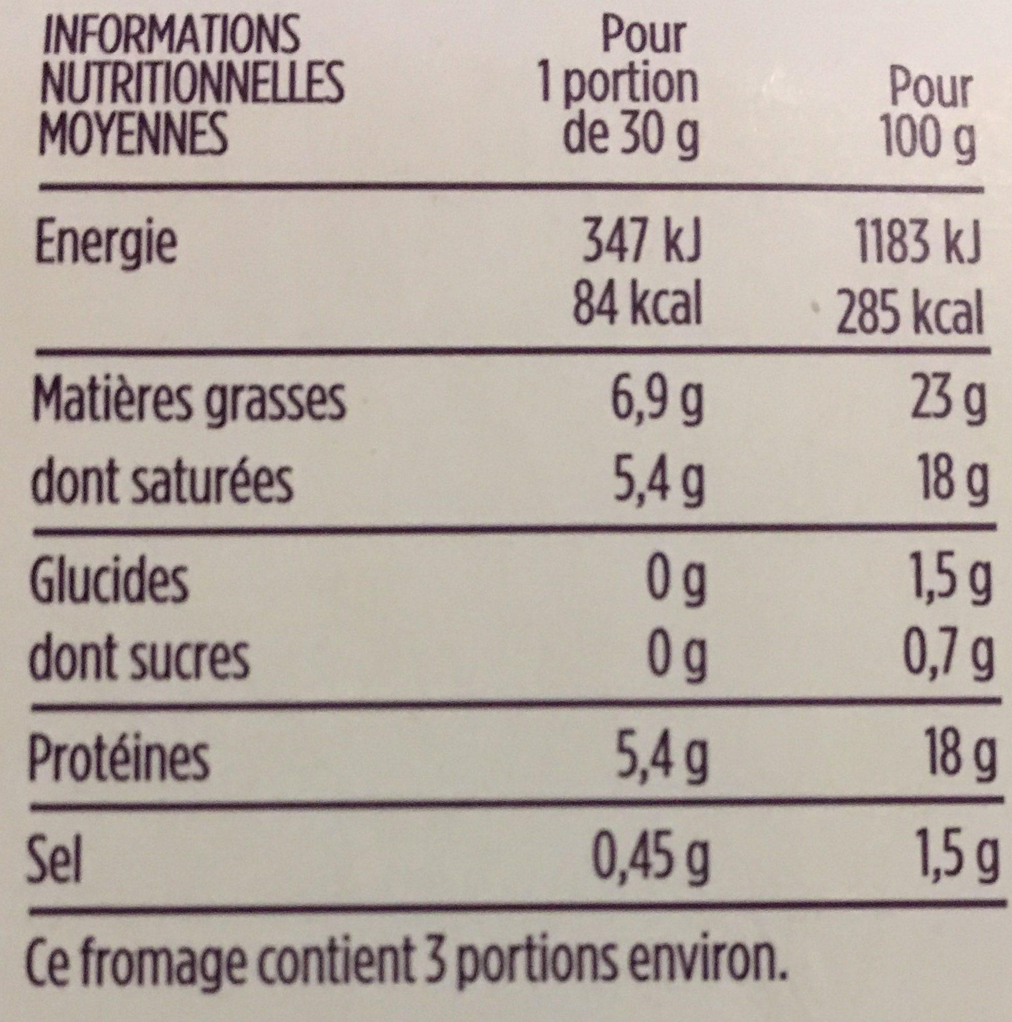 Petit Valençay - Nutrition facts - fr