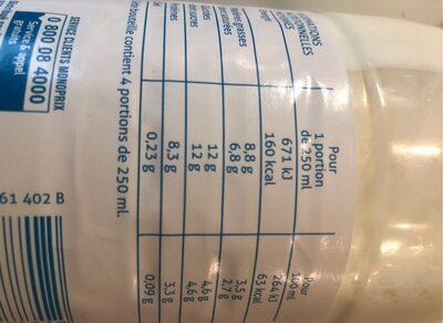 Lait frais entier Microfiltré Bio - Informations nutritionnelles - fr