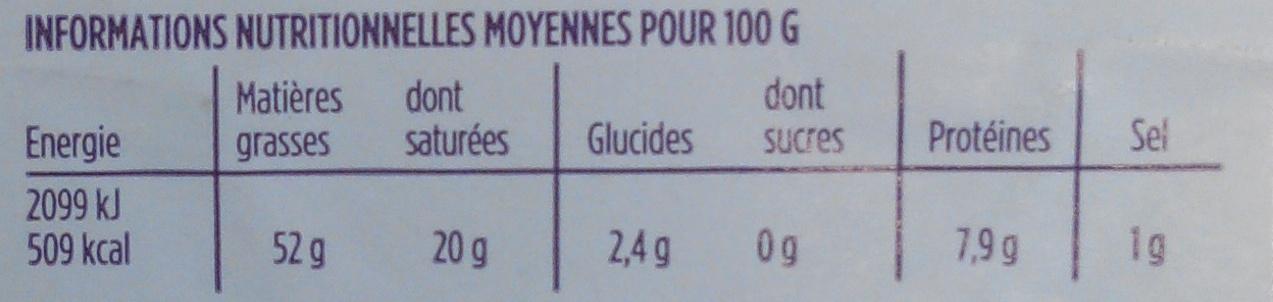 Foie gras de canard entier 1 tranche - Voedingswaarden - fr
