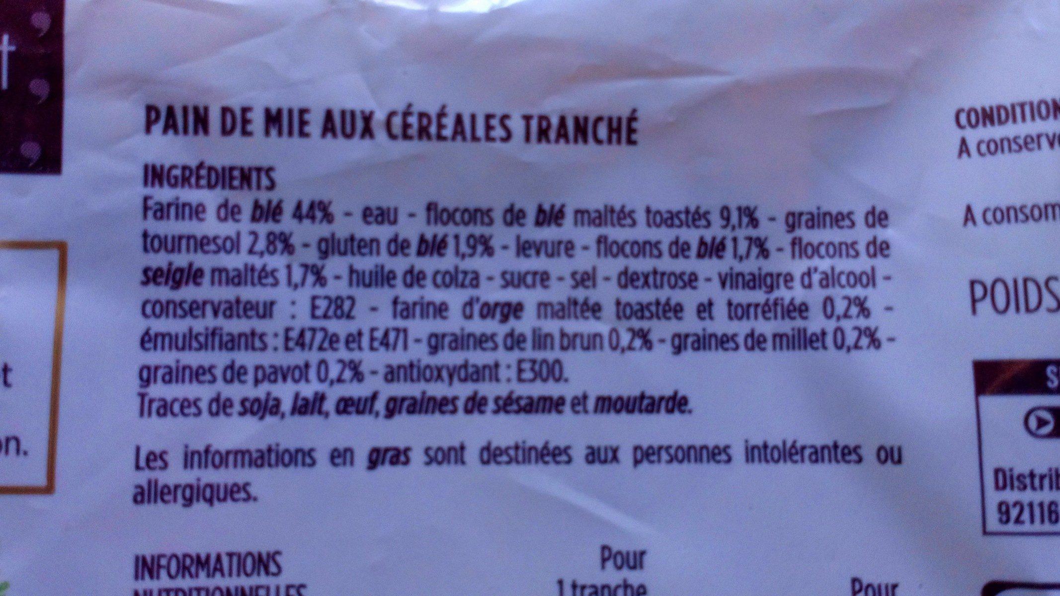 Pain de mie moelleux aux céréales - Ingrediënten - fr