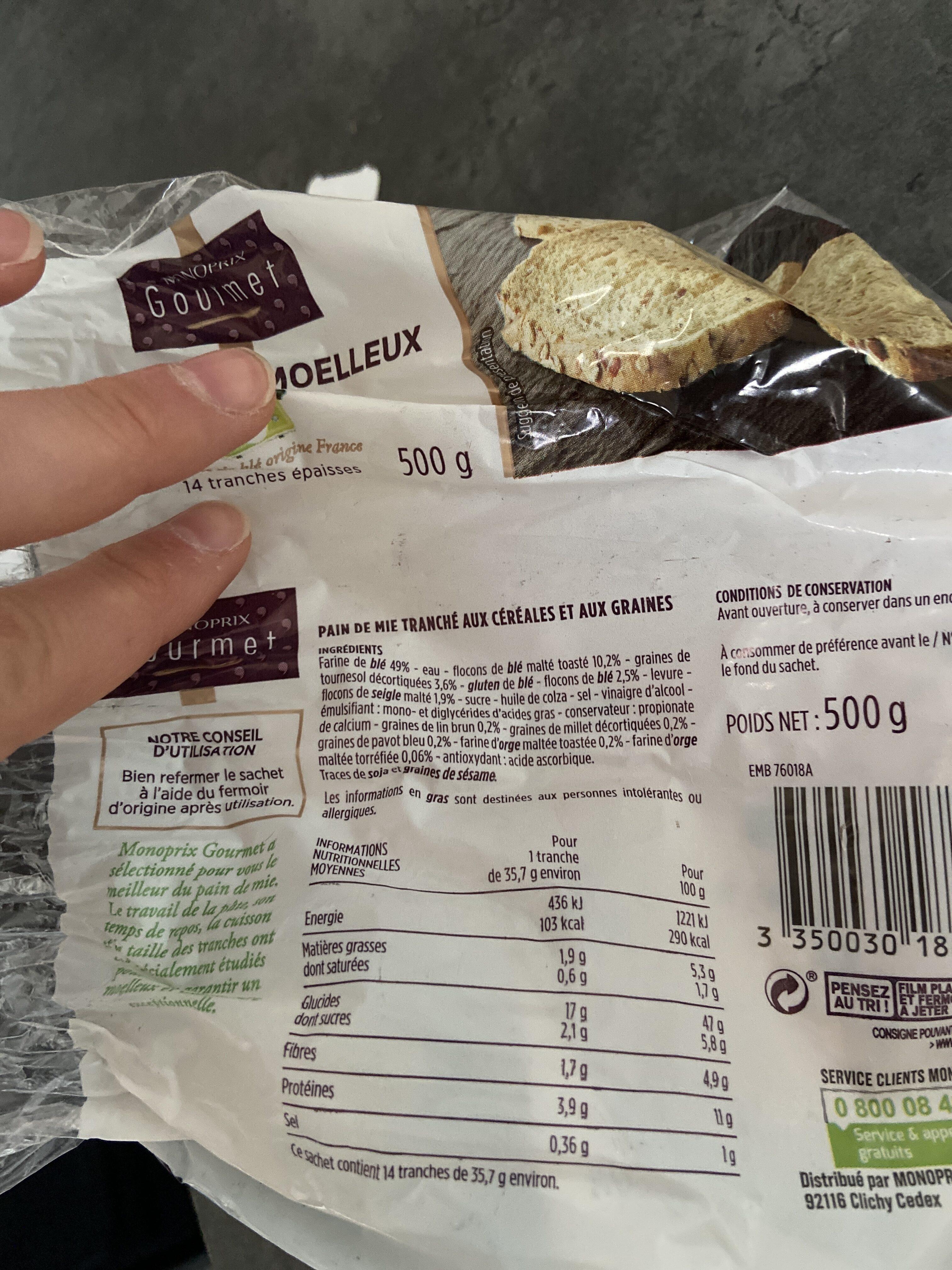 Pain de mie moelleux aux céréales - Ingredienti - fr