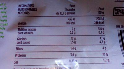 Pain de mie moelleux aux céréales - Voedingswaarden - fr