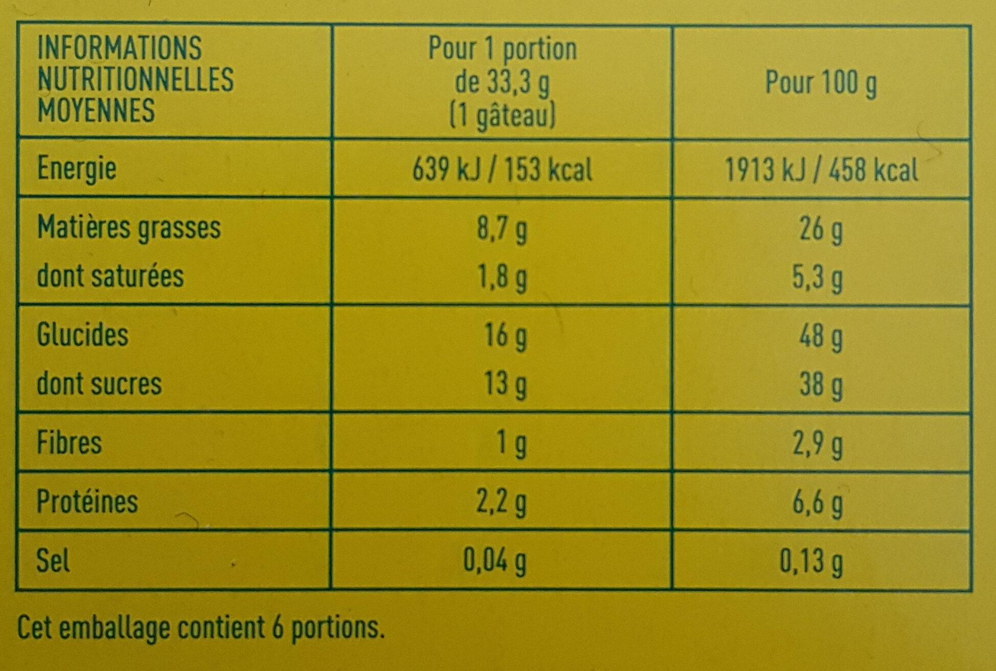 MINI-MOELLEUX au chocolat - Pur beurre de cacao - Informations nutritionnelles - fr