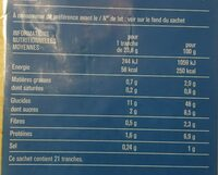 Only Mie, Pain de Mie Blanc, Sans Croûte (21 Tranches) - Informations nutritionnelles - fr