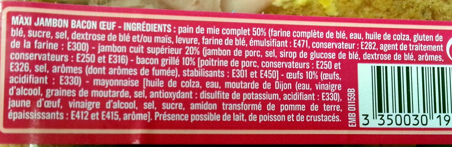 Maxi Jambon Bacon Oeuf - Ingrédients - fr