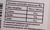 Noix de Coco Bio Cueillie à Maturité - Informations nutritionnelles - fr