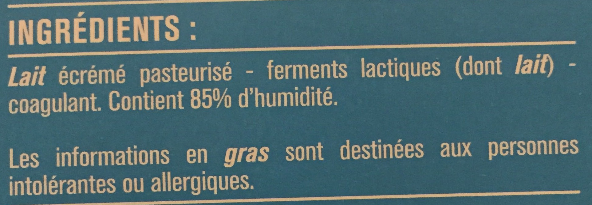 Fromage blanc Nature 0% - Ingredients