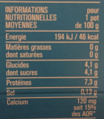 Fromage blanc Nature 0% - Nutrition facts