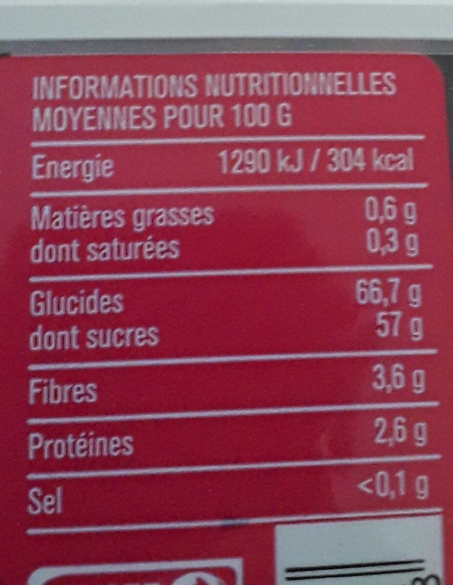 Raisins sans pépin en mélange - Informations nutritionnelles - fr