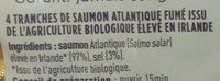 Saumon Atlantique fumé, élevé en Irlande - Ingredients