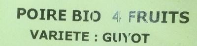 Poires Bio - Ingredients