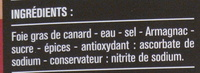 Bloc de foie gras de canard 2 tranches - Ingredients - fr