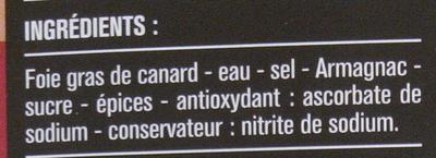 Bloc de foie gras de canard 2 tranches - Ingredients