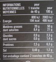 Bloc de foie gras de canard 2 tranches - Nutrition facts - fr