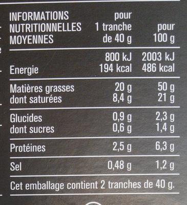Bloc de foie gras de canard 2 tranches - Nutrition facts