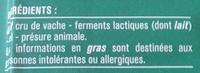Comté AOP (35 % MG) - Ingrédients - fr