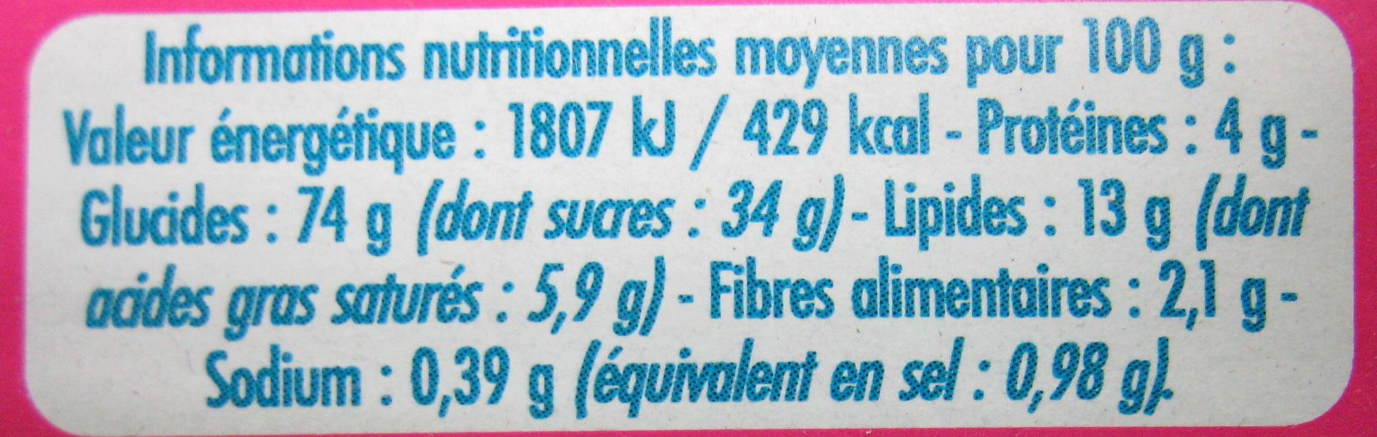 6 Gaufres au Miel à la farine d'épeautre - Informations nutritionnelles