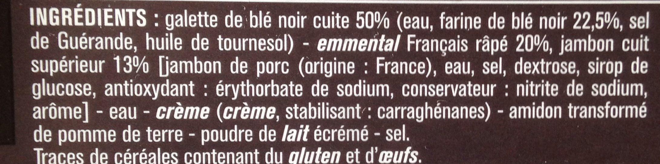 2 galettes de blé noir jambon emmental - Ingrédients - fr