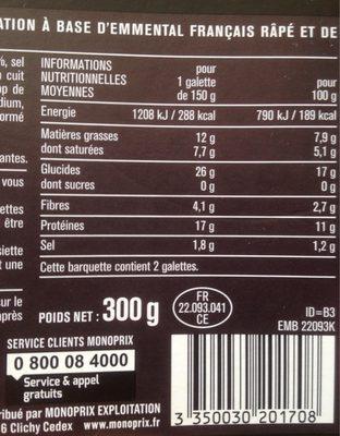2 galettes de blé noir jambon emmental - Informations nutritionnelles - fr