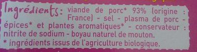 4 Saucisses de Francfort - Ingredients