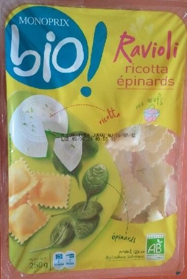Raviolis ricotta épinards aux œufs Bio - Product