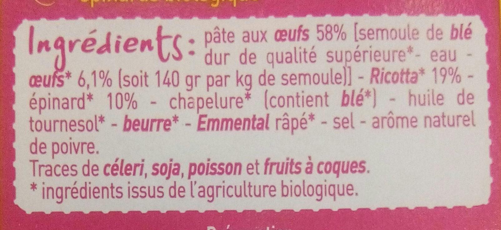 Raviolis ricotta épinards aux œufs Bio - Ingrediënten