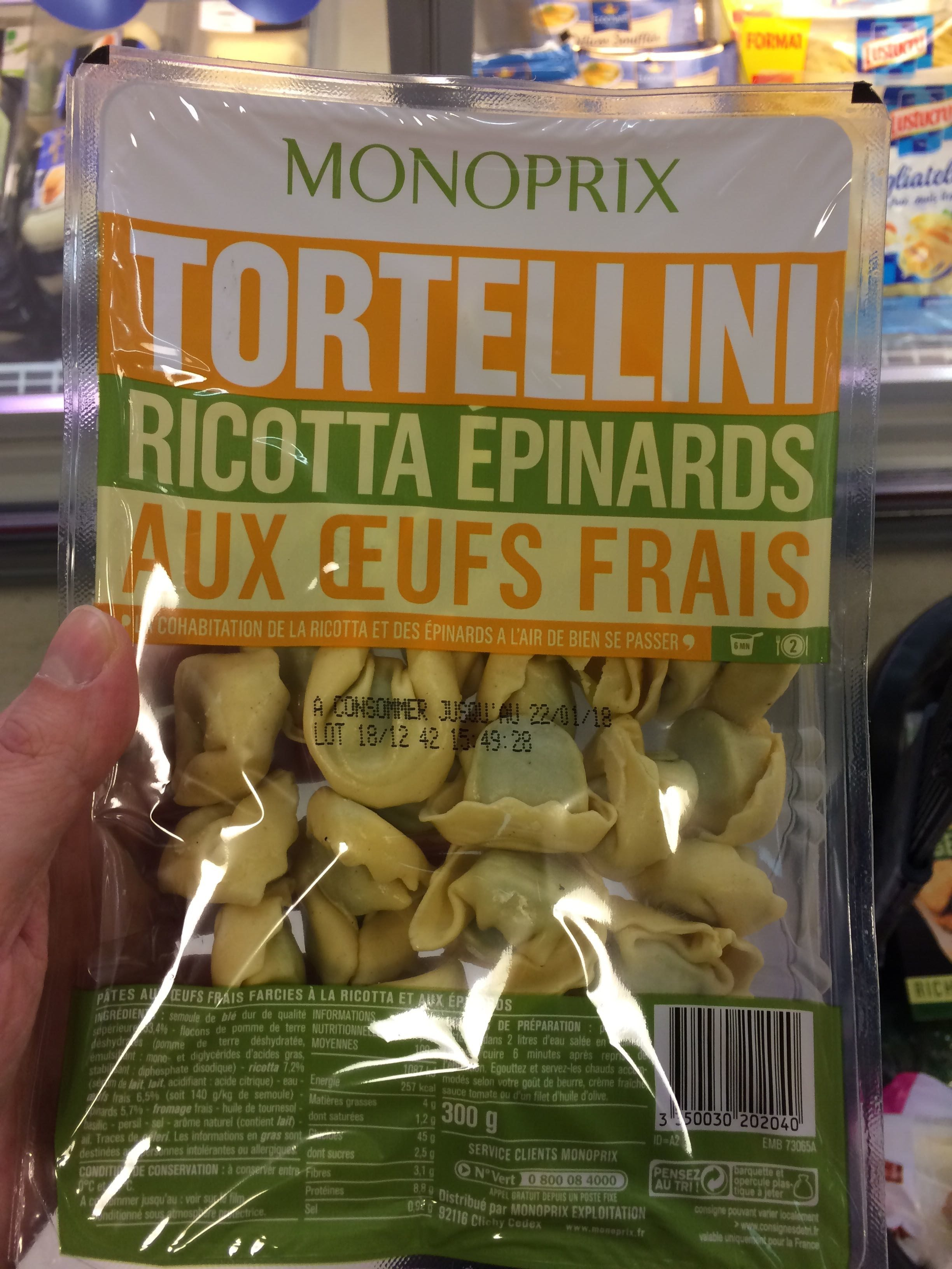 Tortellini ricotta épinard œufs frais - Producto