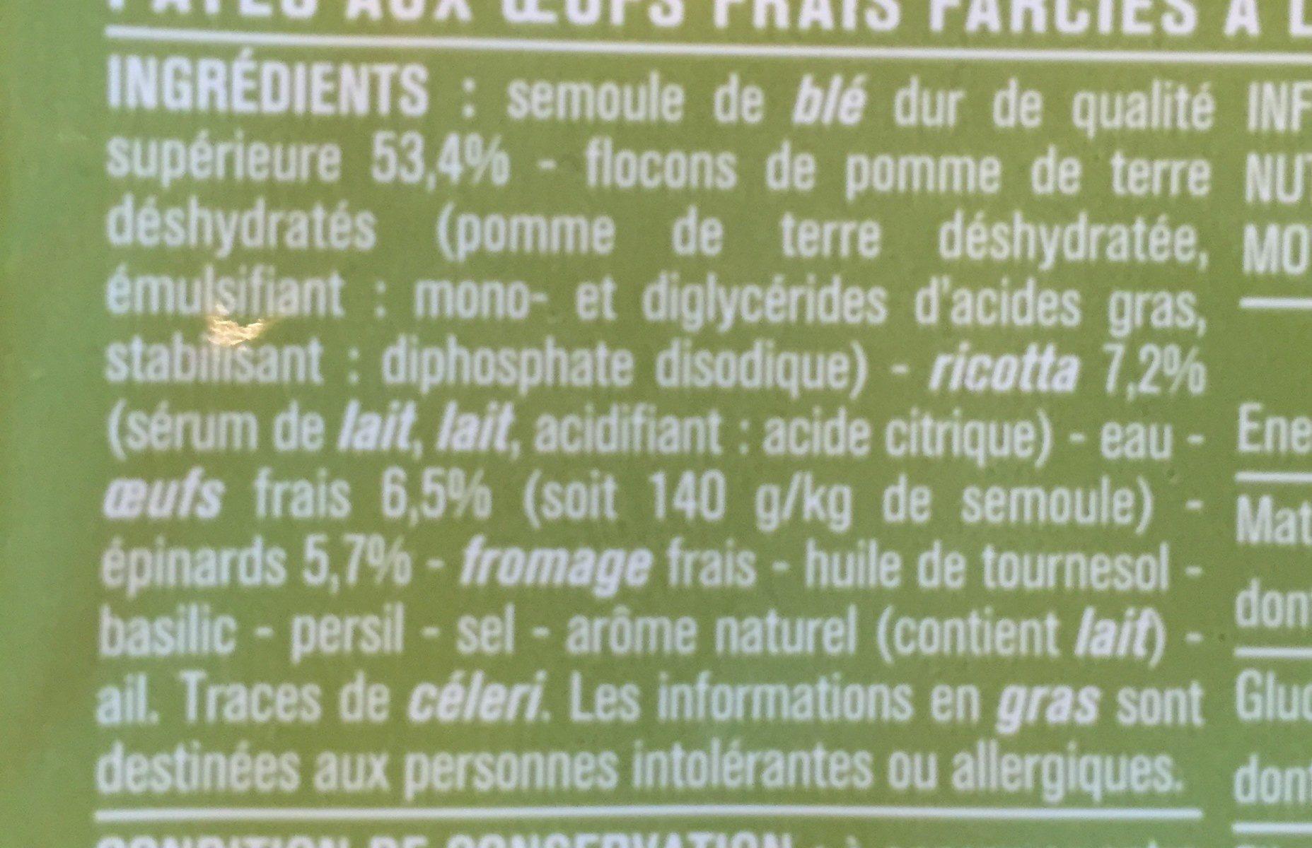 Tortellini aux oeufs frais, à la ricotta et épinards - Ingredients - fr