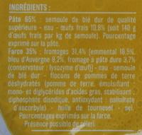 Ravioli 3 Fromages aux Œufs Frais - Ingredients - fr