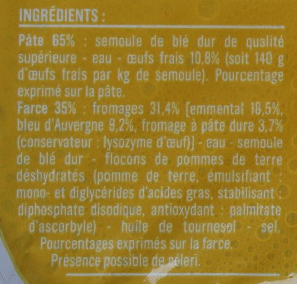 Ravioli 3 Fromages aux Œufs Frais - Ingrédients