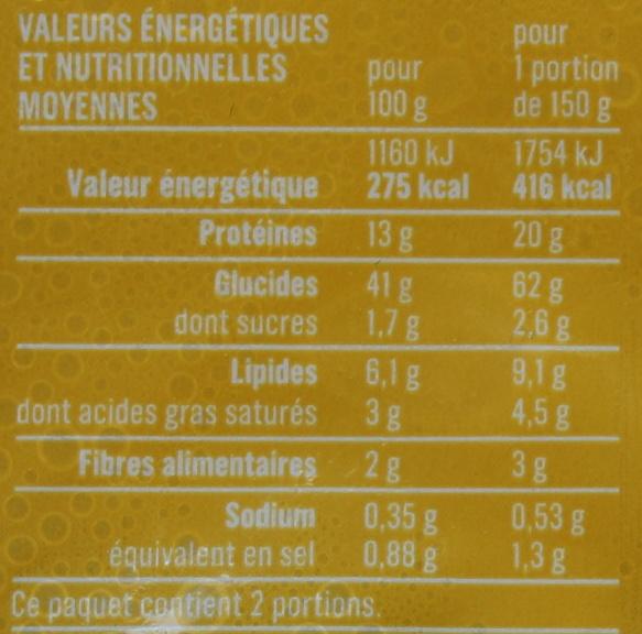 Ravioli 3 Fromages aux Œufs Frais - Informations nutritionnelles