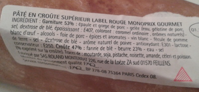 Pâté en croûte supérieur - Ingrediënten - fr