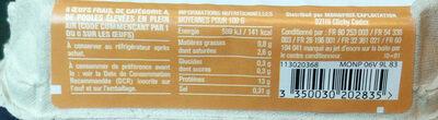 Œufs frais de poules élevées en plein air - Ingrédients - fr