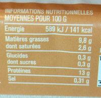 Œufs frais de poules élevées en plein air - Informations nutritionnelles - fr