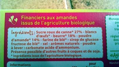Financiers aux Amandes Monoprix bio - Ingredients - fr