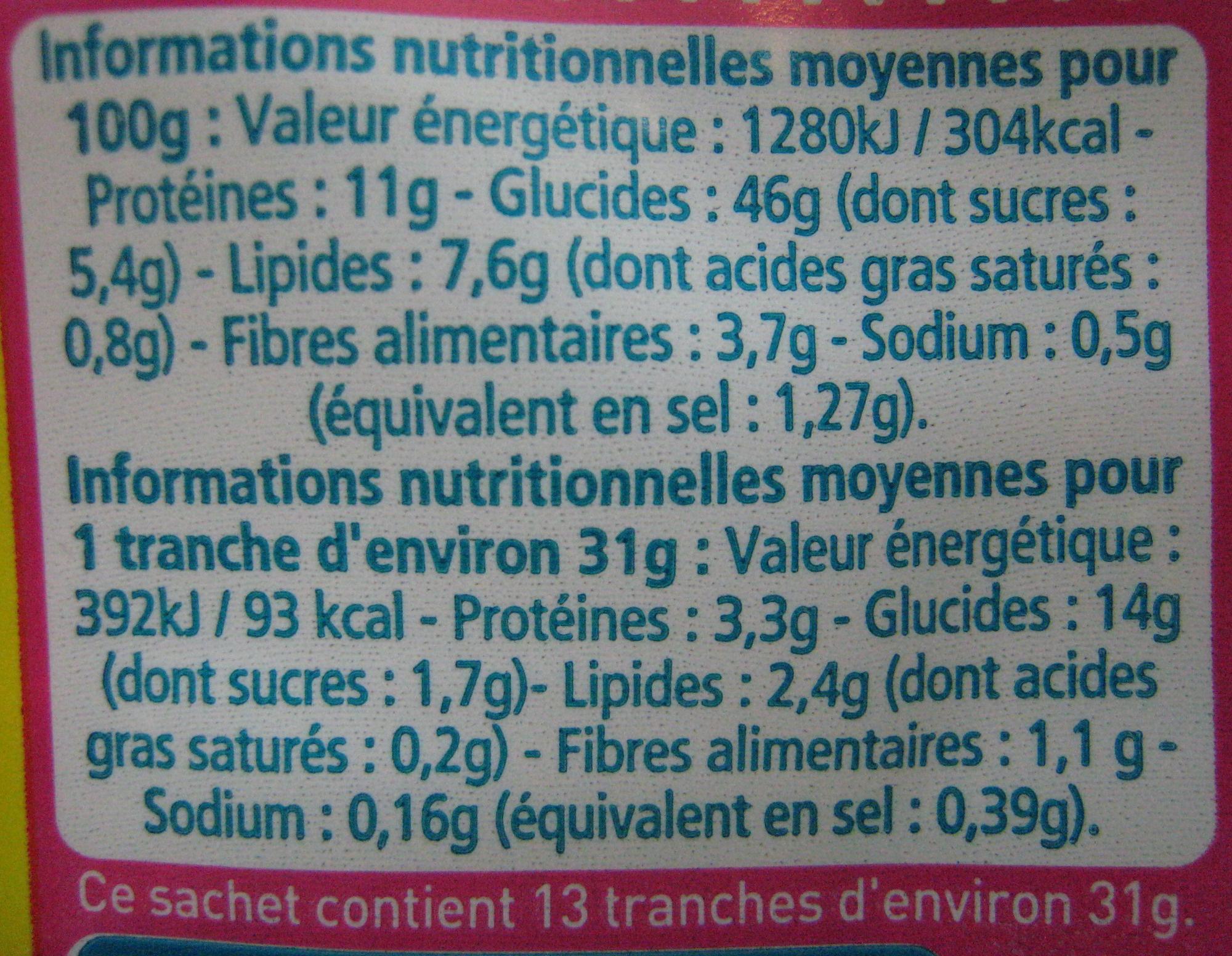 Pain aux Céréales - Voedingswaarden - fr