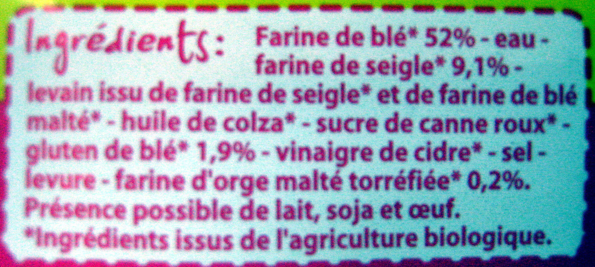 Pain spécial de Campagne Bio - Ingrediënten - fr