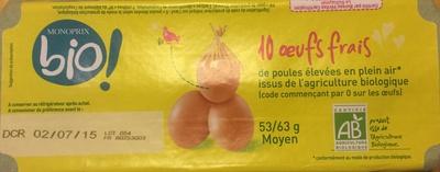 œufs frais de poules élevées en plein air issus de l'agriculture biologique - Product