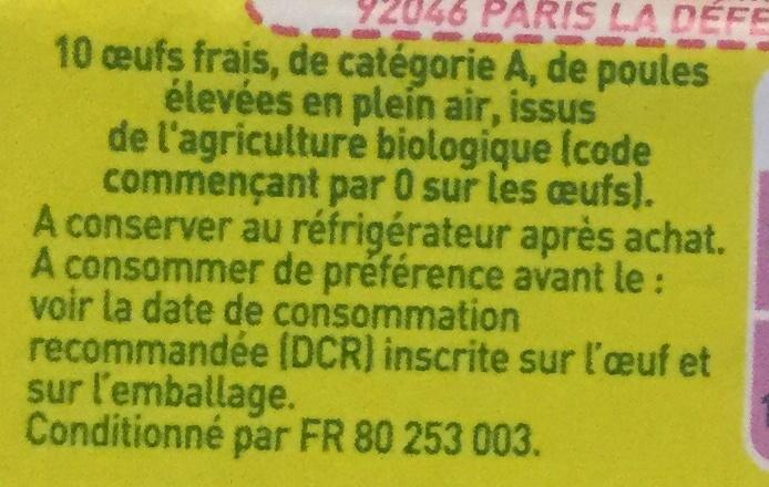 œufs frais - Ingrédients - fr