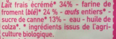Crêpes au froment sucrées, issues de l'agriculture biologique - Ingrédients - fr