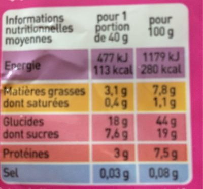Crêpes au froment sucrées, issues de l'agriculture biologique - Informations nutritionnelles - fr