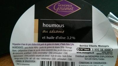 Houmous au sésame et huile d'olive 3,2% - Produit